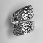 85 Solid Silver hammered effect wrap around ring
