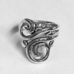 Beautiful Solid Silver open elongated swirl design ring