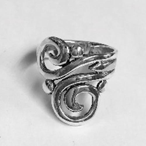 Beautiful Solid Silver open elongated swirl design ring