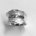 Chunky broad Silver ring with Round Cubic Zirconia