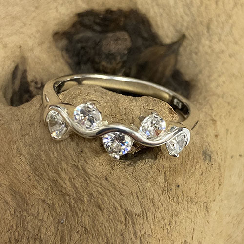 Silver Ring With 5 Round Clear Cubic Zirconia Stones