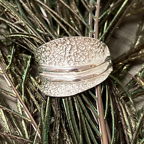 Solid Silver Hammered texture ring