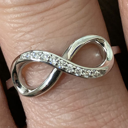 Silver Infinity Ring With Small Cubic Zirconia