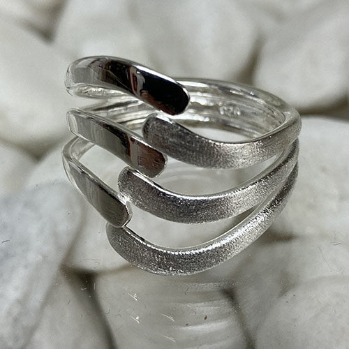 Open work Silver Ring with satin finish