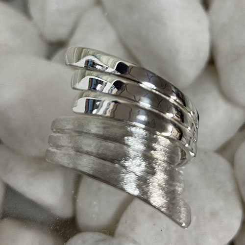 Solid Silver wrap around ring with satin texture