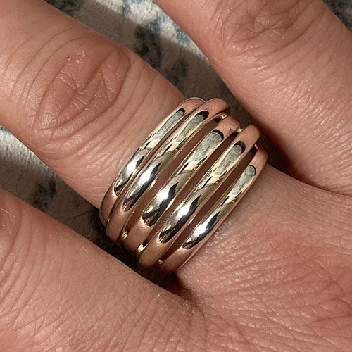 Solid Silver broad ring with multi open bands