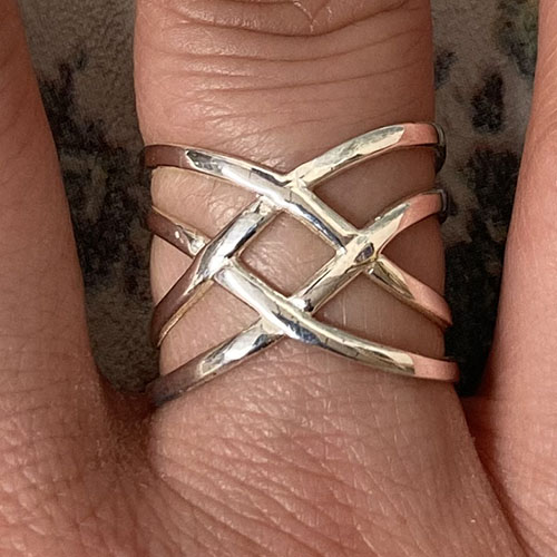 Solid Silver cross over bands