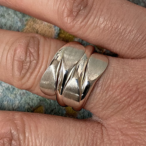 Solid Silver broad ring with a satin finish