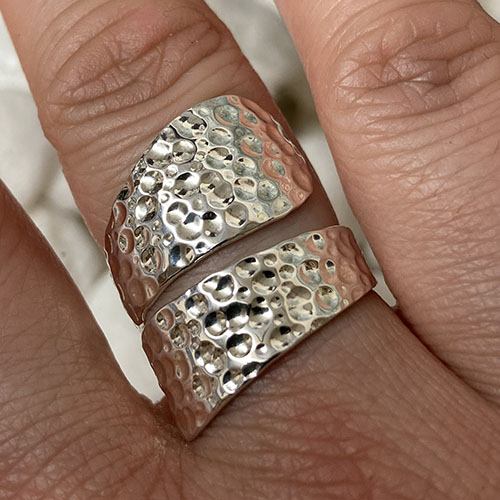 Solid Silver hammered effect wrap around ring