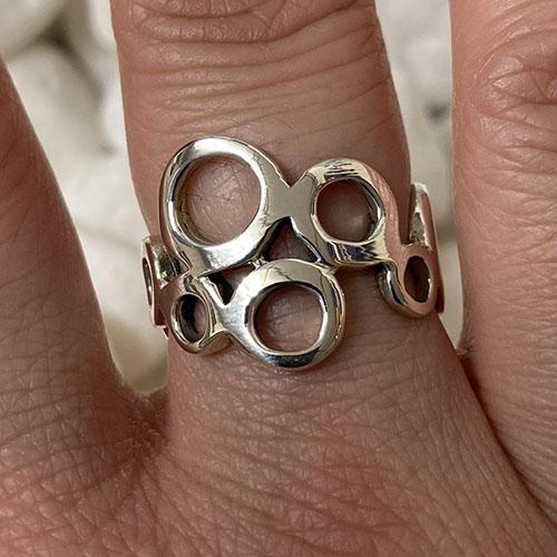 Solid Silver irregular circle design ring