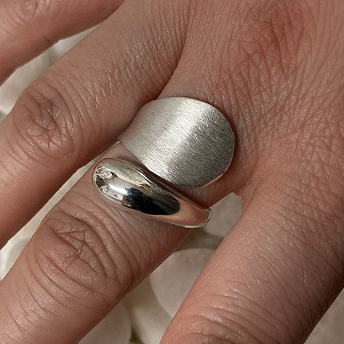 Solid Silver chunky ring with satin finish