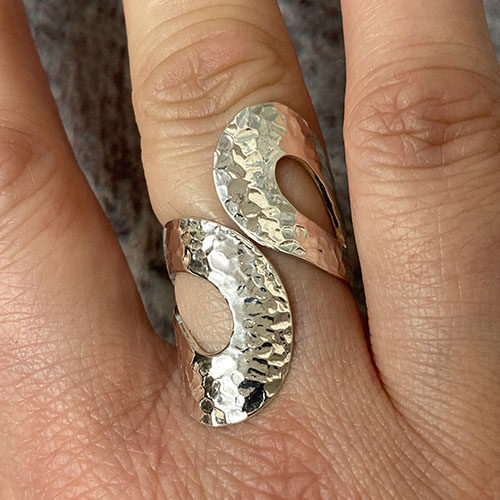 Silver hammered effect open ring