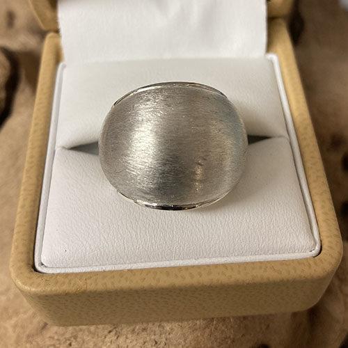 Solid brushed matt Silver ring