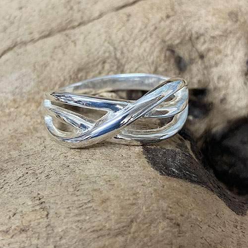 Solid Silver multi cross over ring