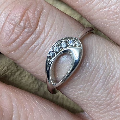 Silver Ring With Cubic Zirconia Clear Stones Set