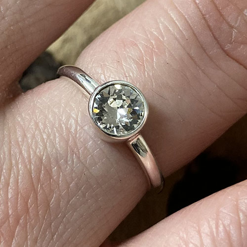 Silver Ring With A Large Round Cubic Zirconia