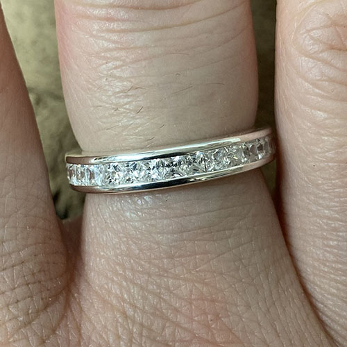 Silver Ring with Pave Set Round Cubic Zirconia