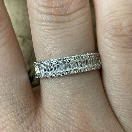 Silver Ring With Small Cubic Zirconia Edging