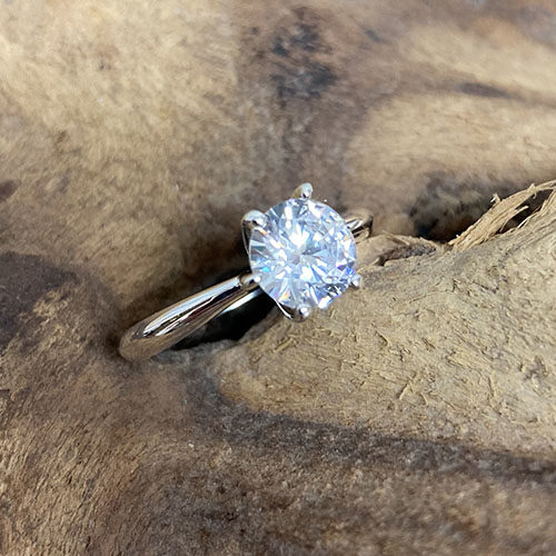 Silver Ring With Large Clear Cubic Zirconia