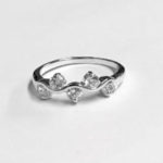 Pretty Silver Ring with 5 round clear Cubic Zirconia stones