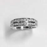 Silver Double Row Channel Set Solid Band