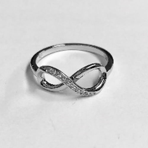 Silver Infinity ring with small Cubic Zirconia clear stones