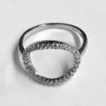 Silver Oval shaped Silver Ring with Cubic Zirconia