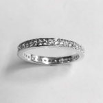 Silver Ring 2.3mm with pave set round Cubic Zirconia