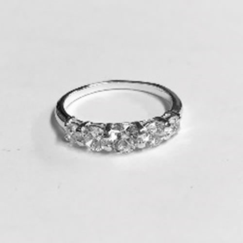 Silver Ring with 5 round Cubic Zirconia clear stones