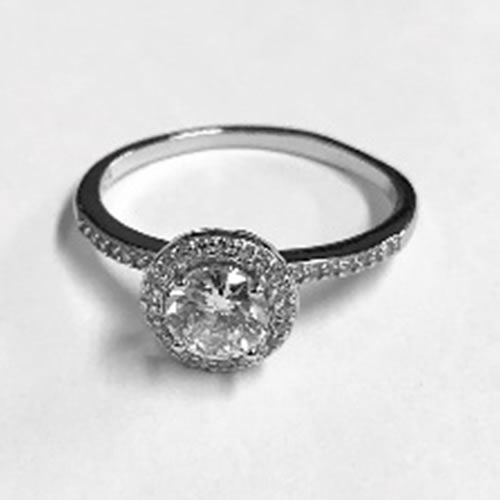 Silver Ring with Large Cubic Zirconia