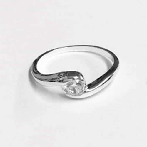 Silver Ring with a round clear Cubic Zirconia