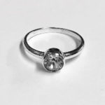 Silver Ring with a single large round Cubic Zirconia