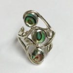 Silver Ring with three Abalone Stones