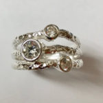 Silver three band hammered effect Ring