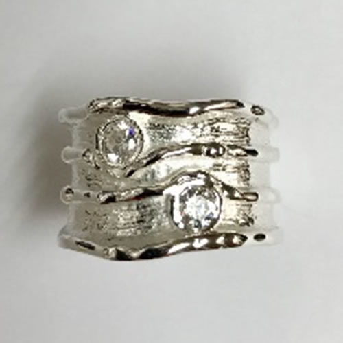 Solid Silver Ring with two round Cubic Zirconia stones