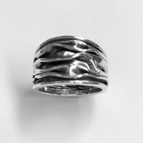 Solid Silver broad ring with black inlay