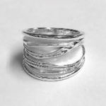 Solid Silver broad ring with brushed white silver texture
