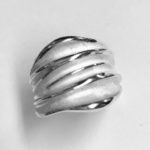 Solid Silver chunky ring with white silver satin finish