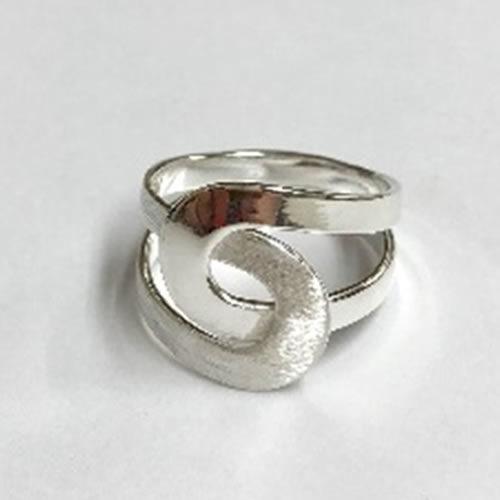 Solid Silver interlocking ring with satin finish