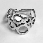 Solid Silver irregular circle design ring