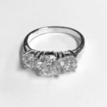 Statement Silver Ring with 3 beautiful clear Cubic Zirconia