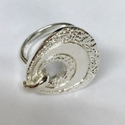 Statement Solid Silver ring with hammered texture design