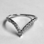 Wishbone shape Ring with beautiful clear Cubic Zirconia