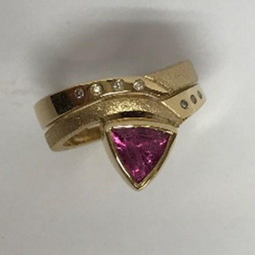 Yellow gold handmade fit in ring set