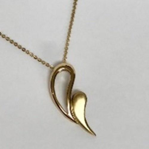 Yellow gold handmade pendant with open teardrop