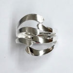 open work Silver Ring with satin finish on one side