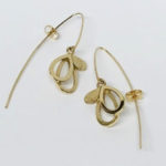yellow gold drop earrings with scratched and satin effect
