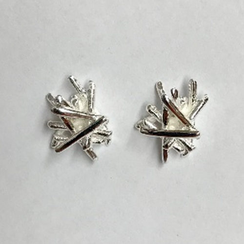 10mm Contemporary silver stud earrings in an abstract design