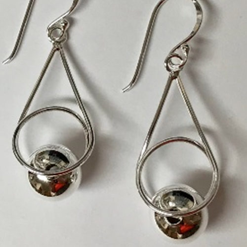 35mm silver drop earrings with silver 10mm silver ball