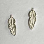 5mm Small stud earring in a satin finish leaf design